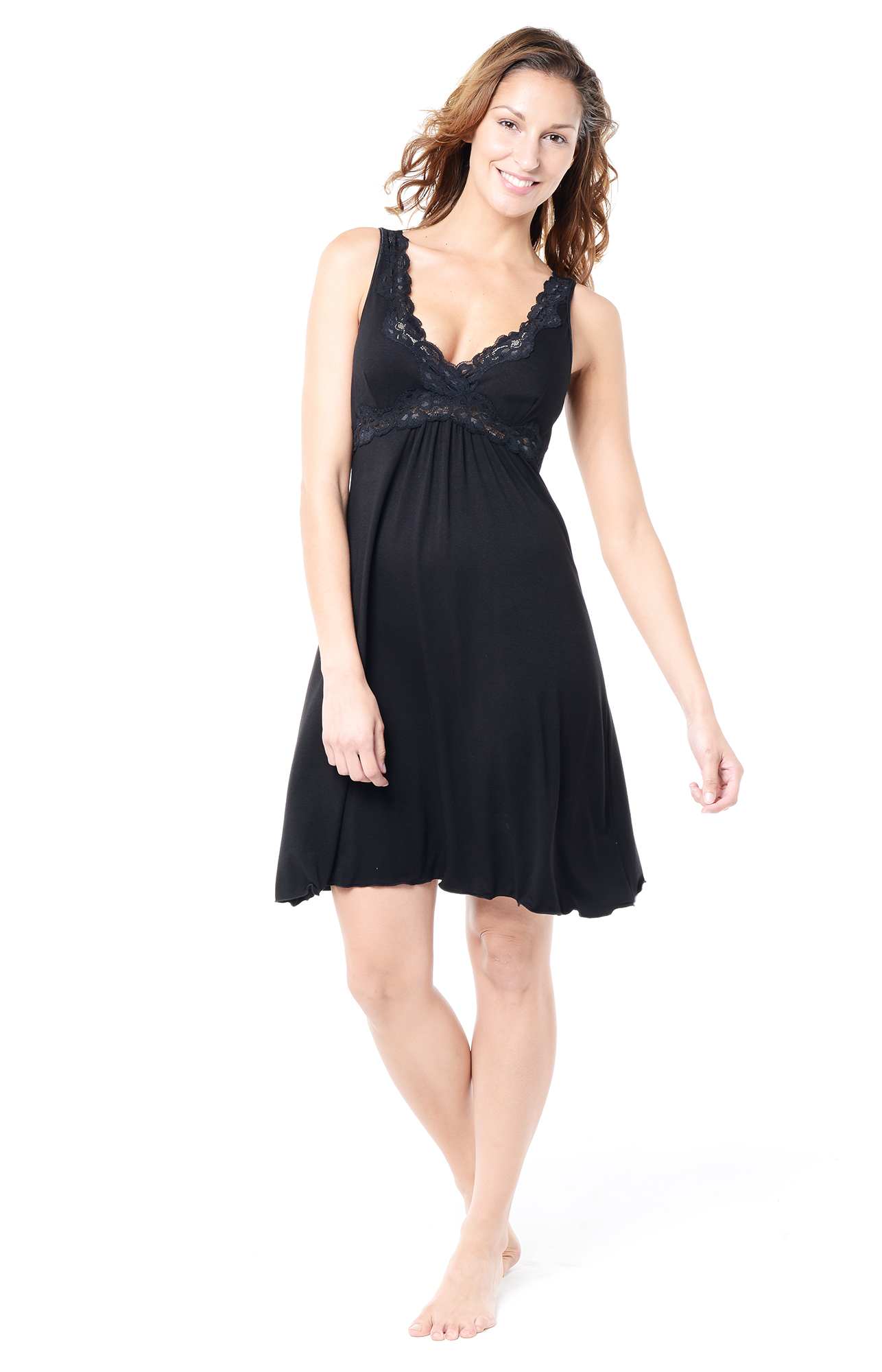 black lace maternity nightie
