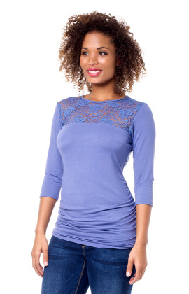 3/4 Sleeve Lace Inset Maternity Top
