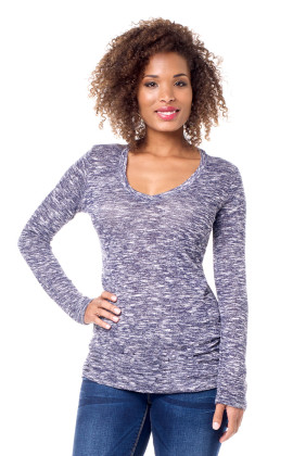 v-neck textured knit maternity top