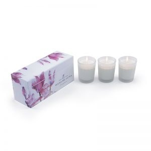 Madame Luna Pink Floral Glass Candle Set of 3 – Frangipani